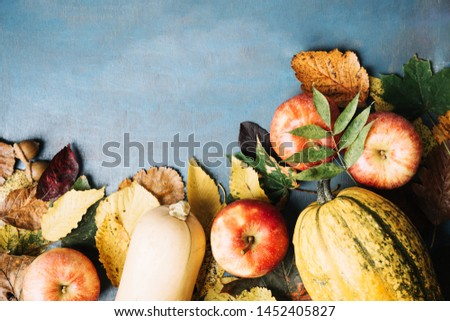 Arranged pumpkins and apples on a table #1452405827