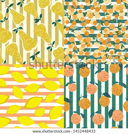 Set of fruits seamless pattern on stripes background. Cherry berries, apples, lemons and leaves hand drawn wallpaper. Funny sweet garden fruits on background. Vector illustration. #1452448433