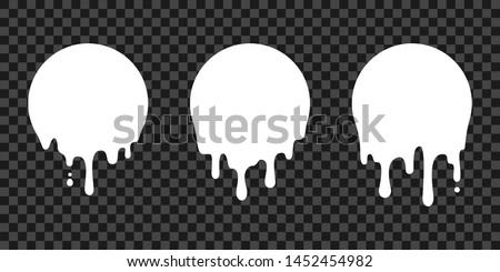 Paint drip stickers, circle white melt drop vector icons. Vector milk circle melt drops, graffiti paint drip blobs #1452454982