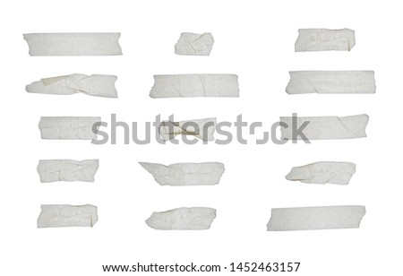 Strips of clear masking tape. Set of various adhesive tape pieces isolated on white background. Paper tape texture. Wrinkled sellotape. #1452463157