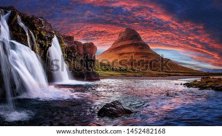 Incredible Nature landscape of Iceland. Fantastic picturesque sunset over Majestic Kirkjufell (Church mountain) and waterfalls. Kirkjufell mountain, Iceland. Famous travel locations.  #1452482168
