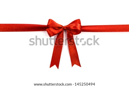Shiny red ribbon on white background with copy space. Royalty-Free Stock Photo #145250494