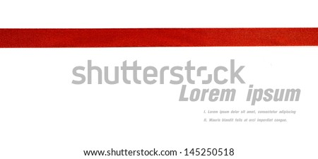 Shiny red ribbon on white background with copy space. Royalty-Free Stock Photo #145250518