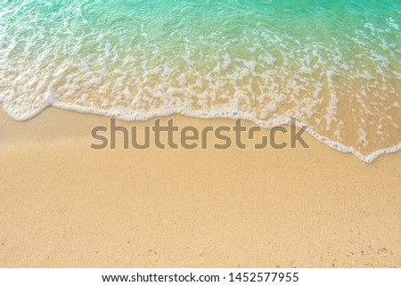 Sand Beach Background with Sandy beautiful white foamy and wave from the sea,beach top view seaside.  #1452577955