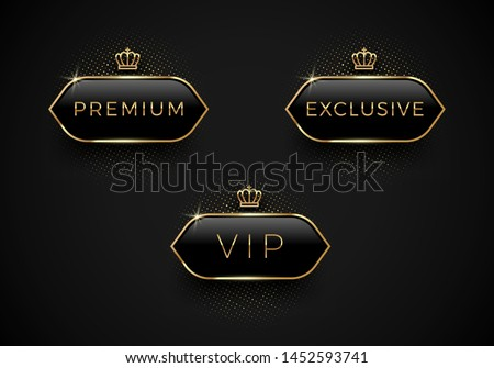 Vip, Premium and Exclusive black glass labels with golden crown and frame on a black background. Premium design. Luxury template design. Vector illustration. #1452593741
