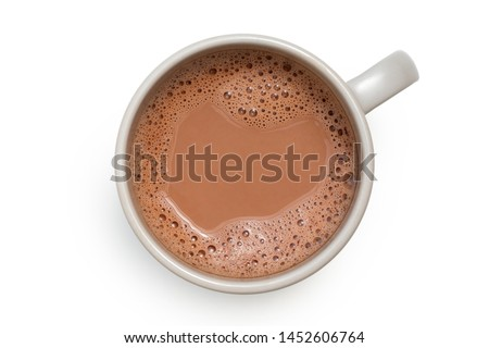 Hot chocolate in a grey ceramic mug isolated on white from above.