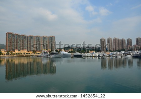 Hong Kong / China - 10 27 2018: Hong Kong Gold Coast, the perfect seaside escape from urban life with a luxurious residence, hotel, a yacht club and shopping mall #1452654122