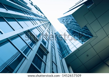 On April 14, 2018, in Hangzhou Qianjiang New Town Hi-tech Industrial Park, the modern commercial square building upward angle was photographed. #1452657509