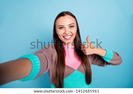 Close-up photo of charming pretty optimistic nice lady making self portrait on smartphone isolated bright background #1452685961