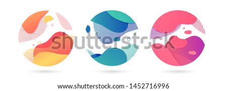 Set of abstract modern graphic circle elements. Dynamical colored around forms and line. Gradient abstract background  flowing liquid shapes. Template for the design of a flyer, presentation. Vector. #1452716996