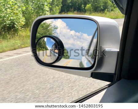 Drive side rear view mirror with additional round safety mirror. #1452803195