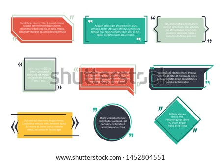 Texting boxes. Feedback typography quote box speech bubble template text note brackets citation page empty frame and geometric logo quotation memo set Royalty-Free Stock Photo #1452804551