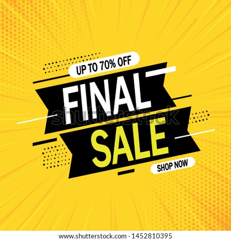 Special offer final sale banner with on yellow abstract background, up to 70% off. Vector illustration. #1452810395