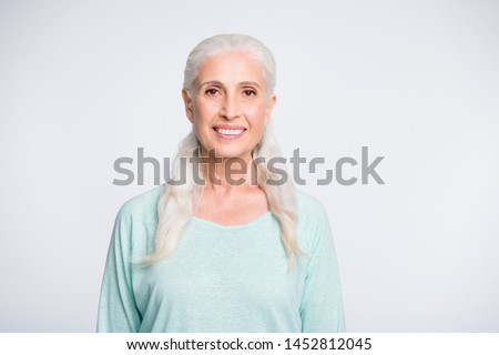 Portrait of pretty person smiling looking wearing teal pullover isolated over white background #1452812045
