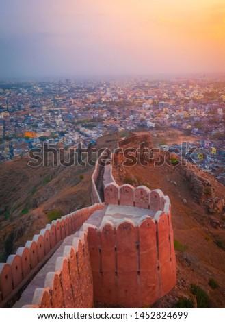 fort during sunset in jaipur Rajasthan #1452824699