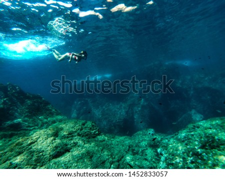 Young female freediver diving snorkeling in the blue sea water among the rocks  #1452833057