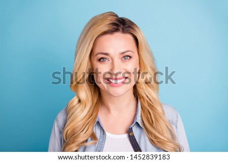 Close up photo of cute lady looking smiling  isolated over blue background #1452839183