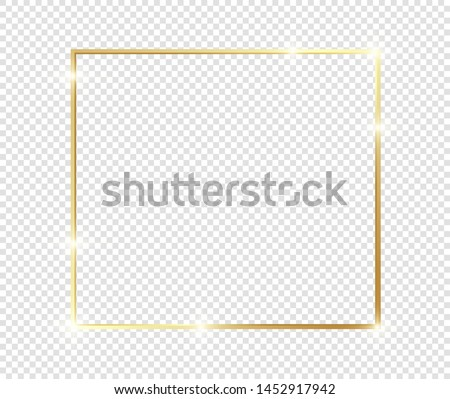 Gold shiny glowing frame with shadows isolated on transparent background. Golden luxury vintage realistic rectangle border. illustration - Vector #1452917942