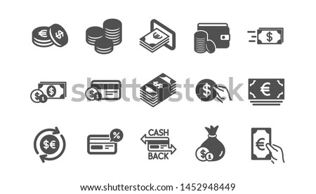 Money and payment icons. Cash, Wallet and Coins. Account cashback classic icon set. Quality set. Vector #1452948449