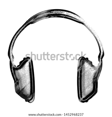 Tarnished black & silver metal headphones icon music and audio symbol in a 3D illustration with a shiny metallic rough texture effect isolated on white with clipping path