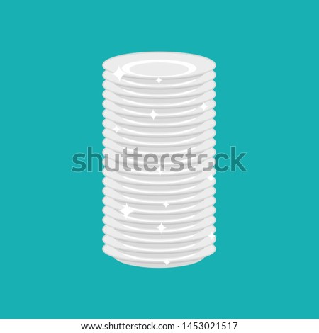 Clean plates stack isolated. fresh dishes   #1453021517