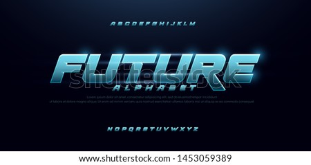 sport future blue glow modern alphabet fonts. technology typography bold and italic font uppercase. vector illustration #1453059389