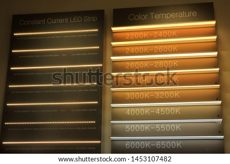 Light color temperature chart. Kelvin in lighting. Different types of LED lights.