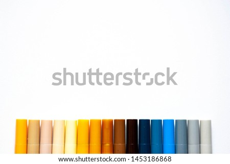 Multicolored watercolor brush pens markers isolated on white background. Yellow and blue colours #1453186868