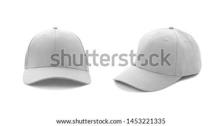 Baseball cap red templates, front views isolated on white background. Mock up. #1453221335