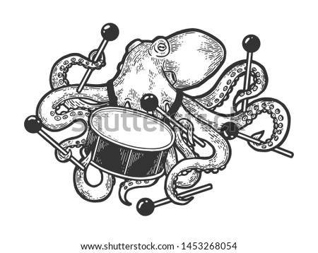 Octopus playing drum sketch engraving raster illustration. Scratch board style imitation. Black and white hand drawn image.