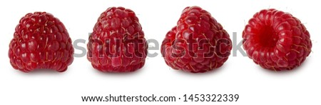 Raspberry isolated. Red ripe raspberry berries isolated on white background, close-up #1453322339