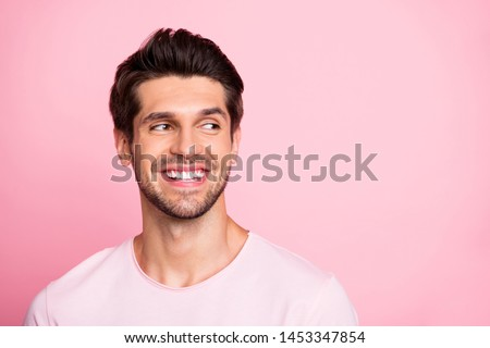 Closeup photo of amazing guy look silly empty space wearing casual outfit isolated on pink background #1453347854