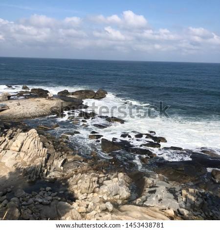 Beach gangwondo rock wave landscape #1453438781