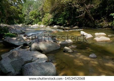 water flow at Chamang waterfall, Bentong, Pahang, Malaysia #1453452068