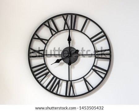 Wall clock on a white background. Eight hours - the beginning of the working day. Twenty hours. 8-00 . 20-00 . #1453505432