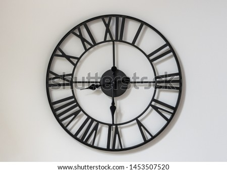 Wall clock on a white background. Eight hours and thirty minutes - the beginning of the working day. Twenty hours and thirty minutes. 8-30 . 20-30 . #1453507520