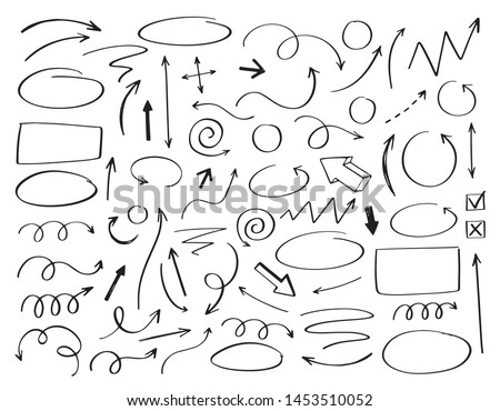 Doodle vector arrows and design elements. Hand drawn set of icons, frames, borders, arrows in cartoon style. Elements for infographics. #1453510052