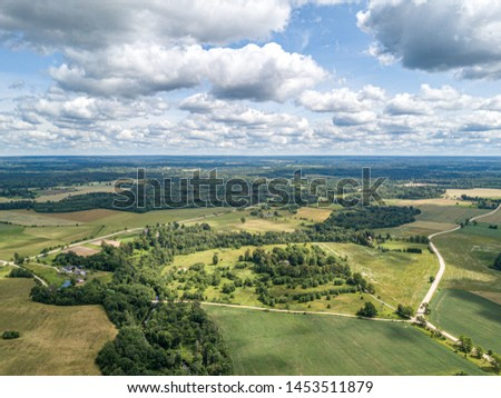 natural countryside view in summer evening. Latvia #1453511879