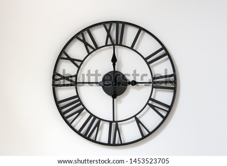 Wall clock on a white background. Three o'clock. Fifteen hours. 3-00 . 15-00 . #1453523705