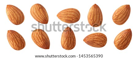 almond raw piece collection set.almond full macro shoot nuts healthy food ingredient on white isolated .Clipping path Suitable for package #1453565390