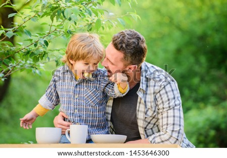 Nutrition habits. Family enjoy homemade meal. Family time. Nutrition kids and adults. Little boy and dad eat. Everything is more fun with father. Organic nutrition. Healthy nutrition concept. #1453646300