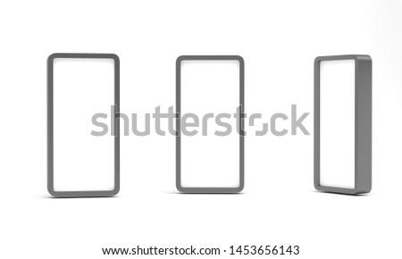 Vertical blank 3d render lightbox isolated on white background. Set #1453656143