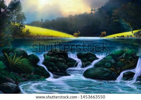Digital Painting Lanscape Nature River #1453663550