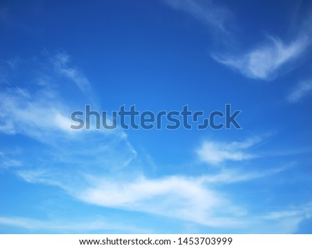 Blue sky Has a beautiful white cloudy mass With copy space. #1453703999