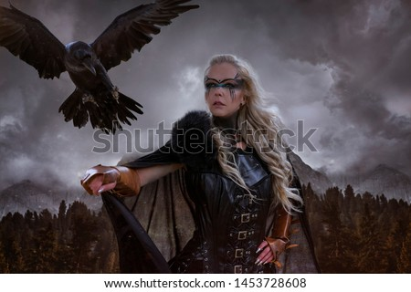 landscape of Norwegian fjords, Viking blonde with war shield, sword and a black crow as a battle animal #1453728608