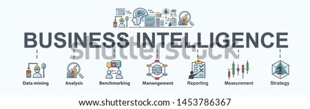 Business Intelligence banner web icon for business plan, data mining, analysis, Strategy, measurement, benchmarking, report and management. Minimal vector infographic. #1453786367