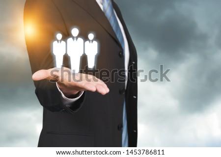 Business man holding opinion leader, team leader, market leader, Leading concepts. #1453786811