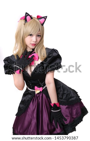 Japan anime cosplay , portrait of girl cosplay isolated in white background