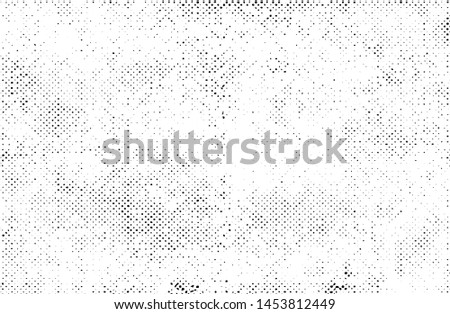 Subtle halftone grunge urban texture vector. Distressed overlay texture. Grunge background. Abstract mild textured effect. Vector Illustration. Black isolated on white background. EPS10. #1453812449