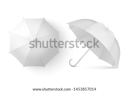 Vector 3d Realistic Render White Blank Umbrella Icon Set Closeup Isolated on White Background. Design Template of Opened Parasols for Mock-up, Branding, Advertise etc. Top and Front View #1453857014